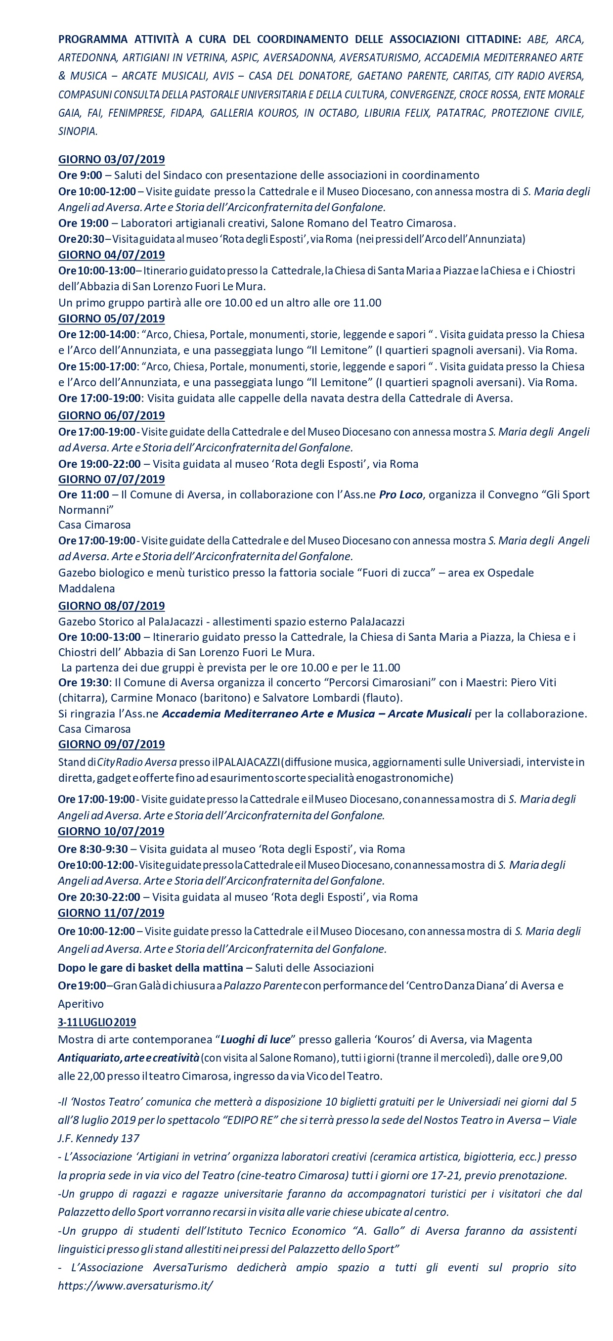 Calendario Universiadi.Aversa Universiadi Il Programma Degli Eventi Collaterali