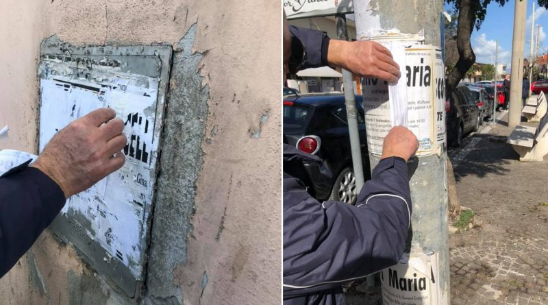 (VIDEO) Teverola. Manifesti abusivi e abbandono illecito rifiuti, operazione Polizia Locale